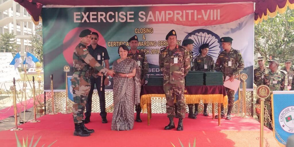 On 14 March 2019 Exercise Sampriti had its closing ceremony at Bangabandhu Cantonment at Tangail. High Commissioner Smt Riva Ganguly Das was the Chief Guest.