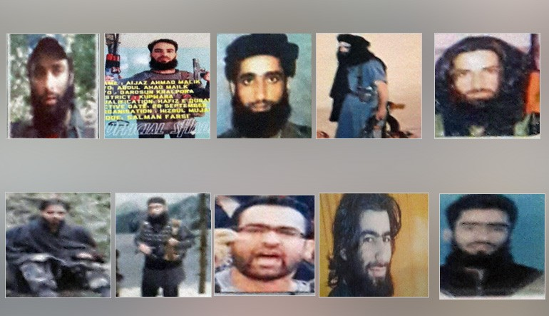 list of 10 most wanted terrorists in Kashmir valley